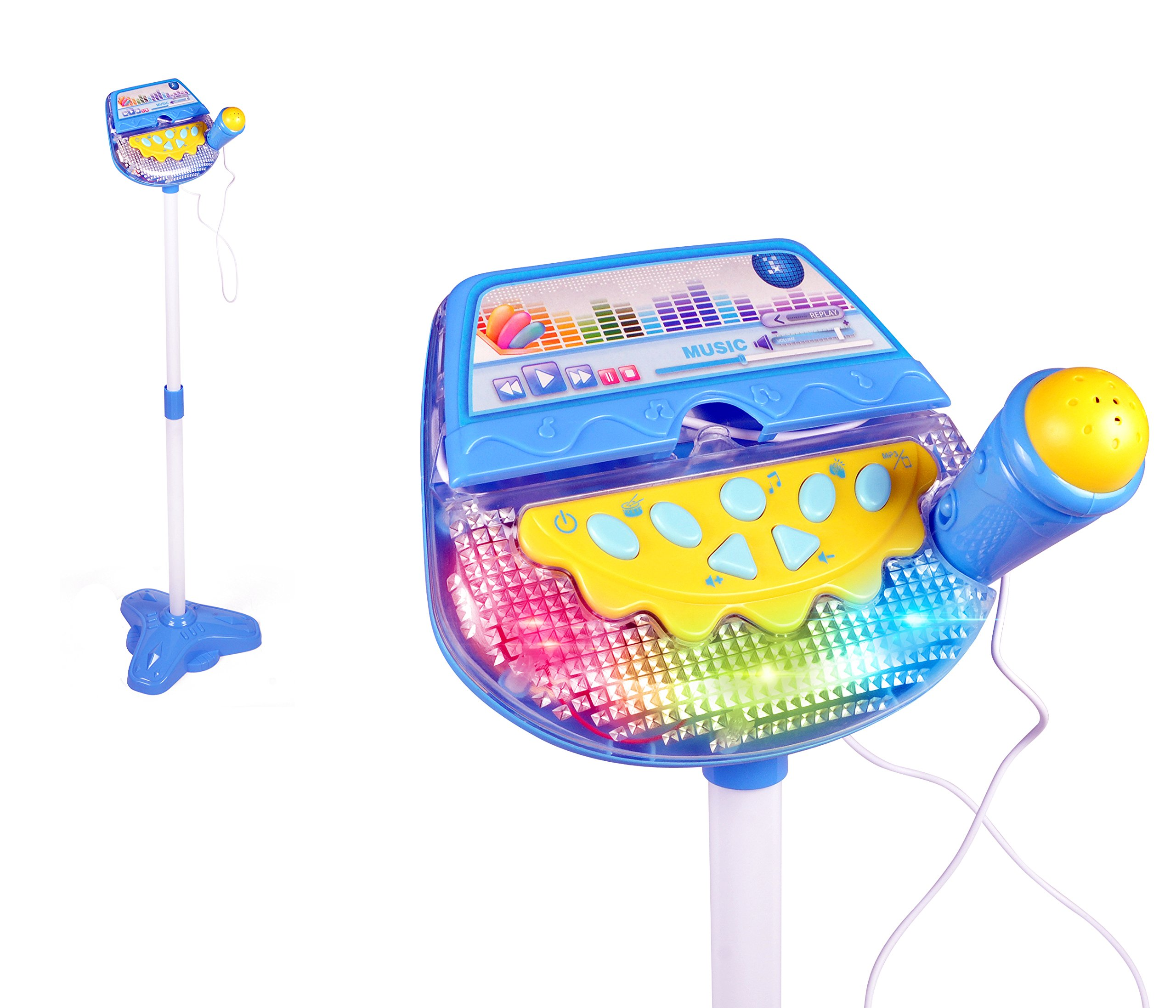 Rock Star Kids Karaoke Machine Sing Along Multifunctional Stand Up Microphone Toy Play Set w/ Built In MP3, Speaker, Adjustable Height