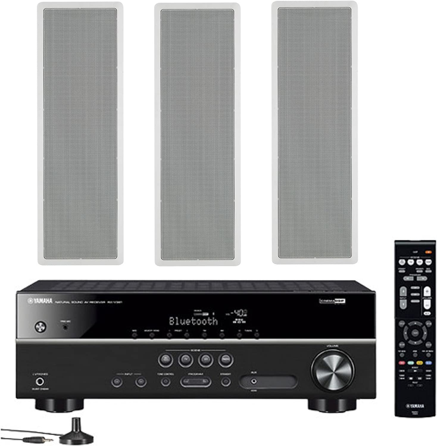 Yamaha 5.1-Channel Wireless Bluetooth 4K A/V Home Theater Receiver + Yamaha High-Performance Natural Sound 2-Way in-Wall Left/Center/Right Channel Speaker System (Set of 3)