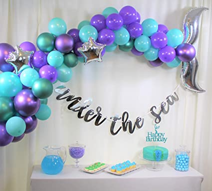 Mermaid Party Supplies set, Mermaid Birthday decorations,Under the Sea Party,Mermaid Tail Balloon Garland Set, Under the Sea Banner,Mermaid Cake ...