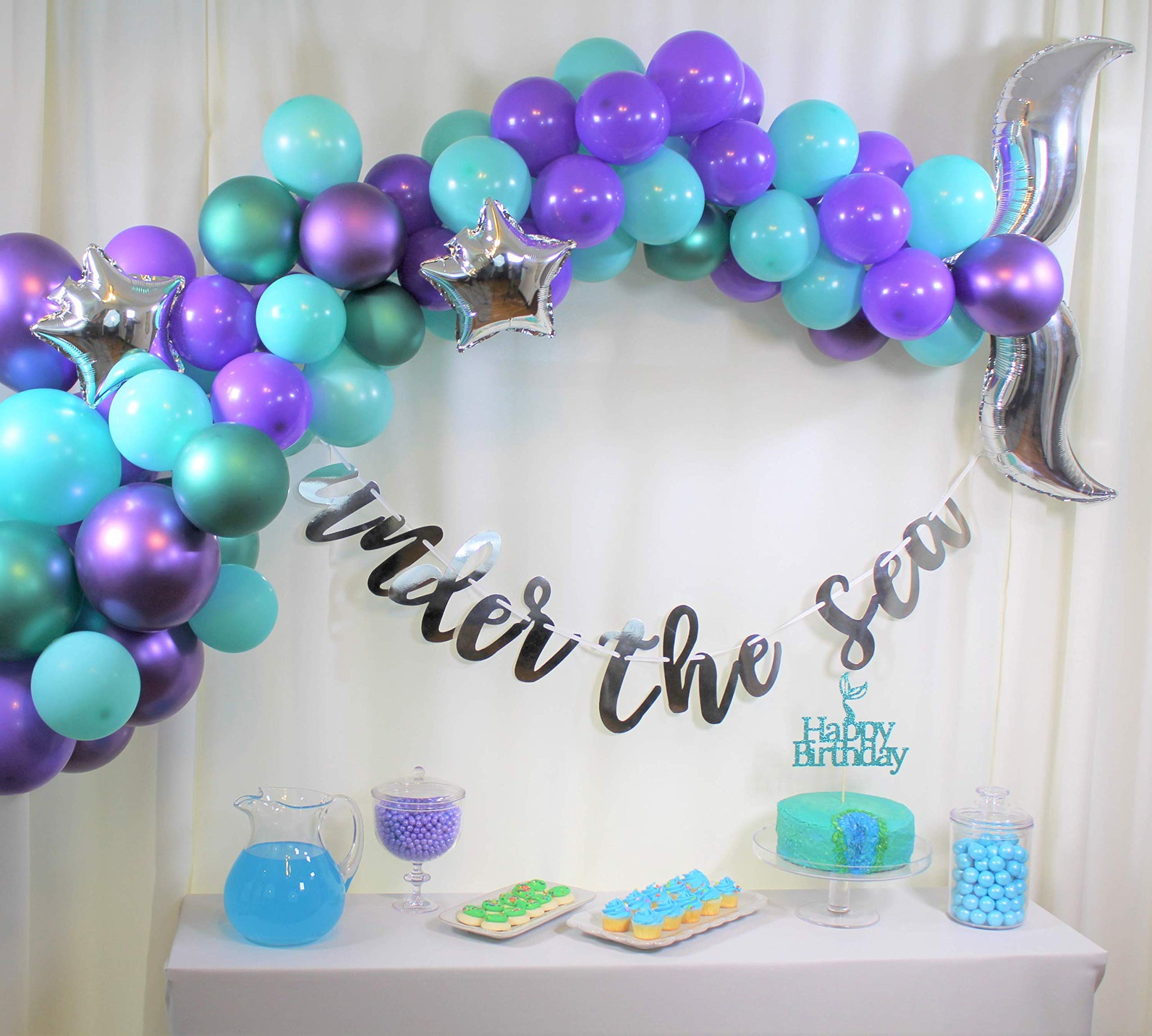 Mermaid Party Supplies, Mermaid Birthday, Under the Sea Party, Mermaid Tail Balloon Garland Set, Under the Sea Pre-strung Banner, Mermaid Cake Topper, Balloon Arch Tool Kit, Happy Birthday for Girls