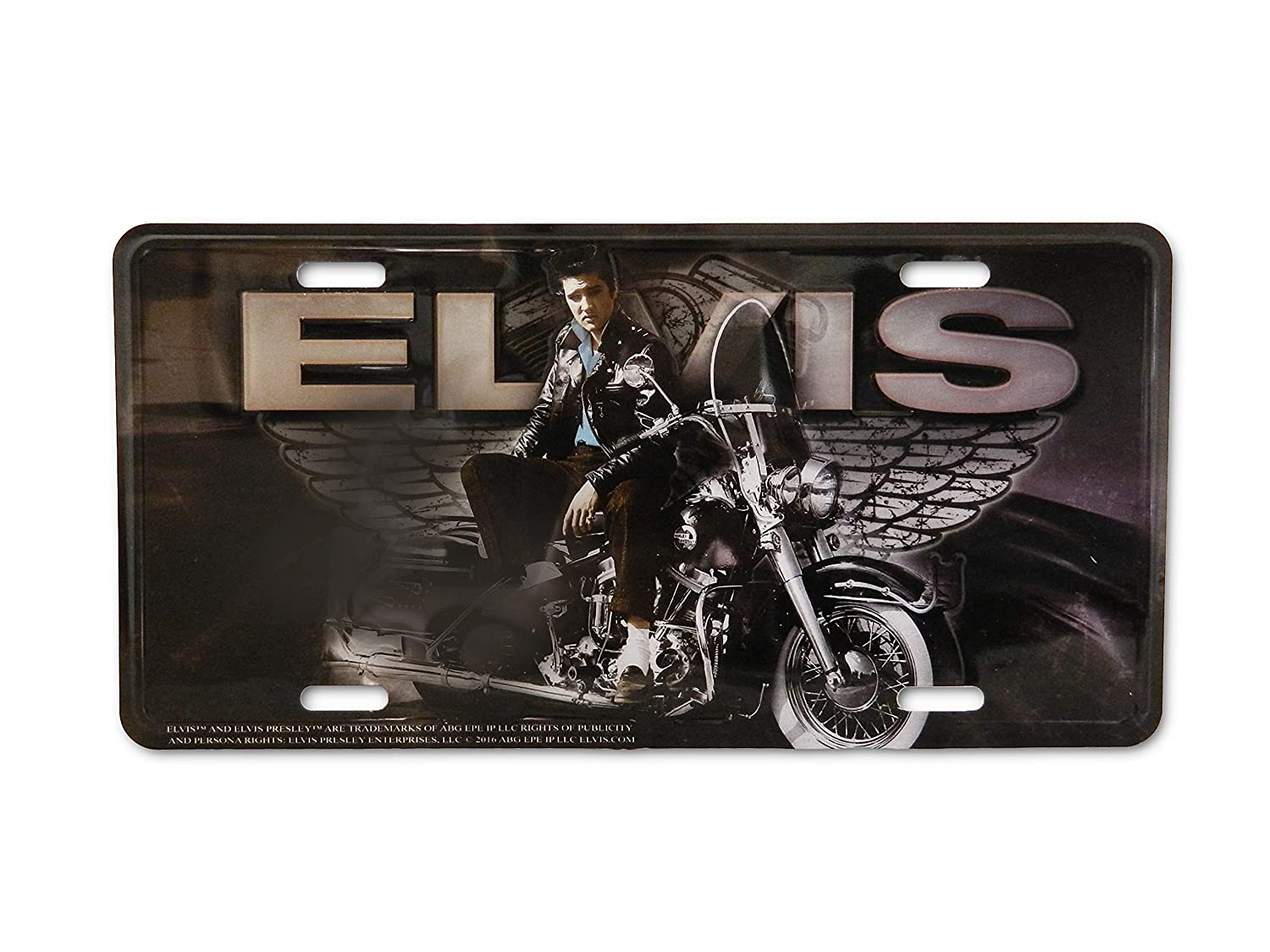 Midsouth Products Elvis On Motorcycle with Wings Metal License Plate