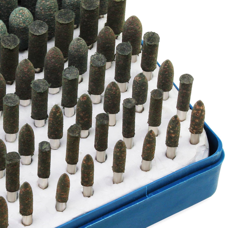 HSeaMall 100PCS Grinding Polishing Head Abrasive Stone Mandrel Mounted Buffing Polishing Head Multifunctional Grinding Buffing Point Polishing Accessories For Dremel Rotary Tools Blue color