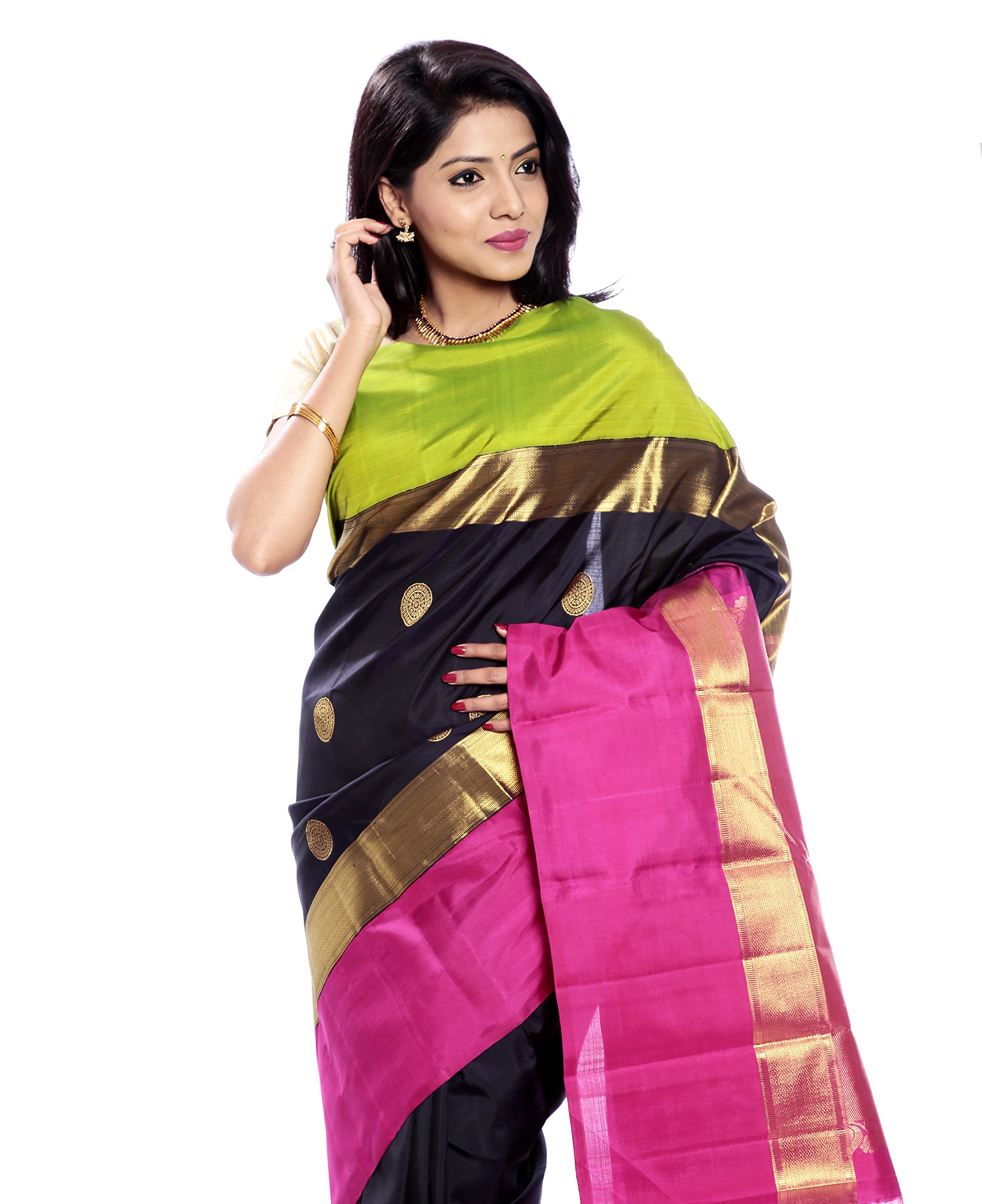Mandakini — Indian Women's Kanchipuram - Handloom - Pure Zari & Pure Silk Saree (Black ) (MK214) by Mandakini (Image #2)