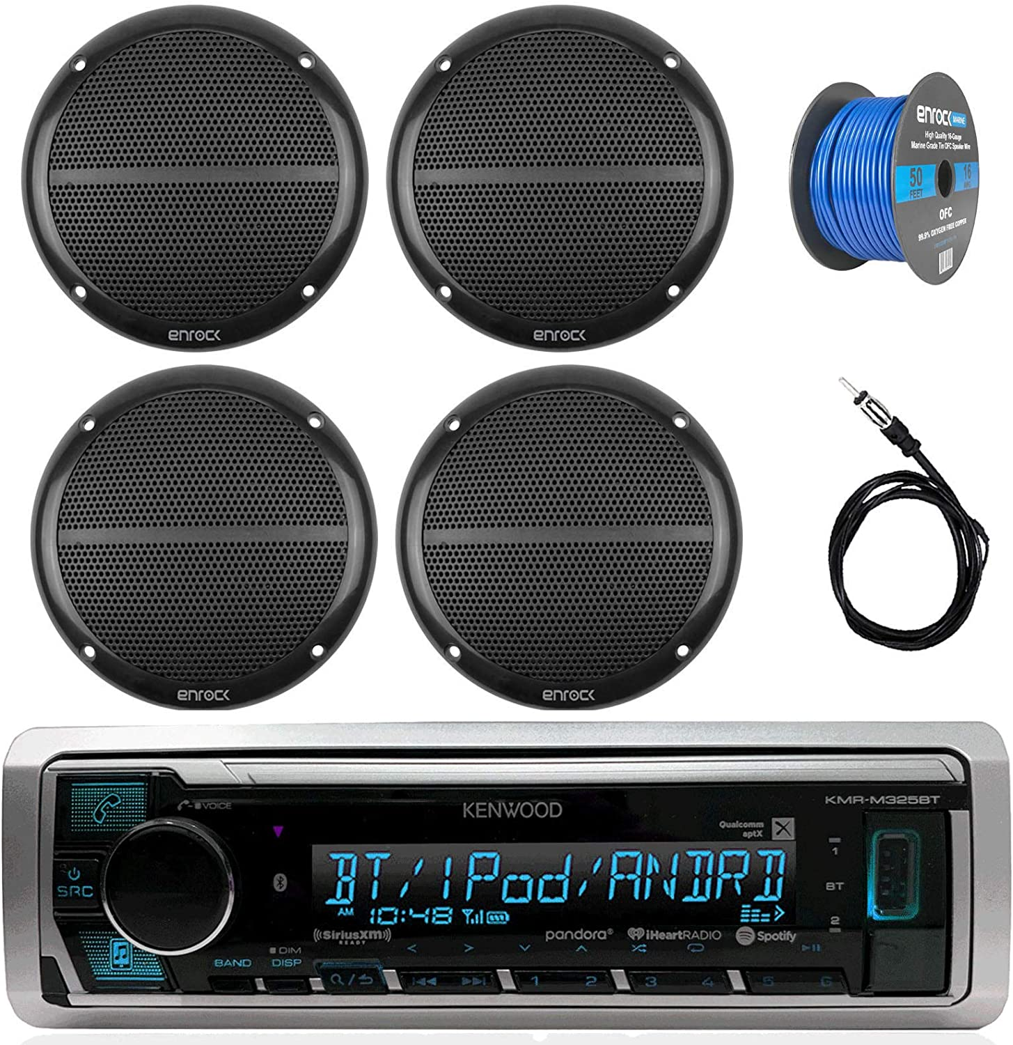Kenwood KMR-M322BT In-Dash Marine Boat Audio Bluetooth USB Receiver w// Waterproof Protective Cover Bundle Combo  4x White Coaxial Speakers Radio Antenna 16g 50ft Speaker Wire