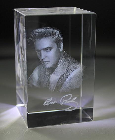 VIP-LASER – Figura de Cristal (tamaño XL Quader 3D Autógrafo Elvis Presley – Una Necesidad para Cualquier Fan Elvis.