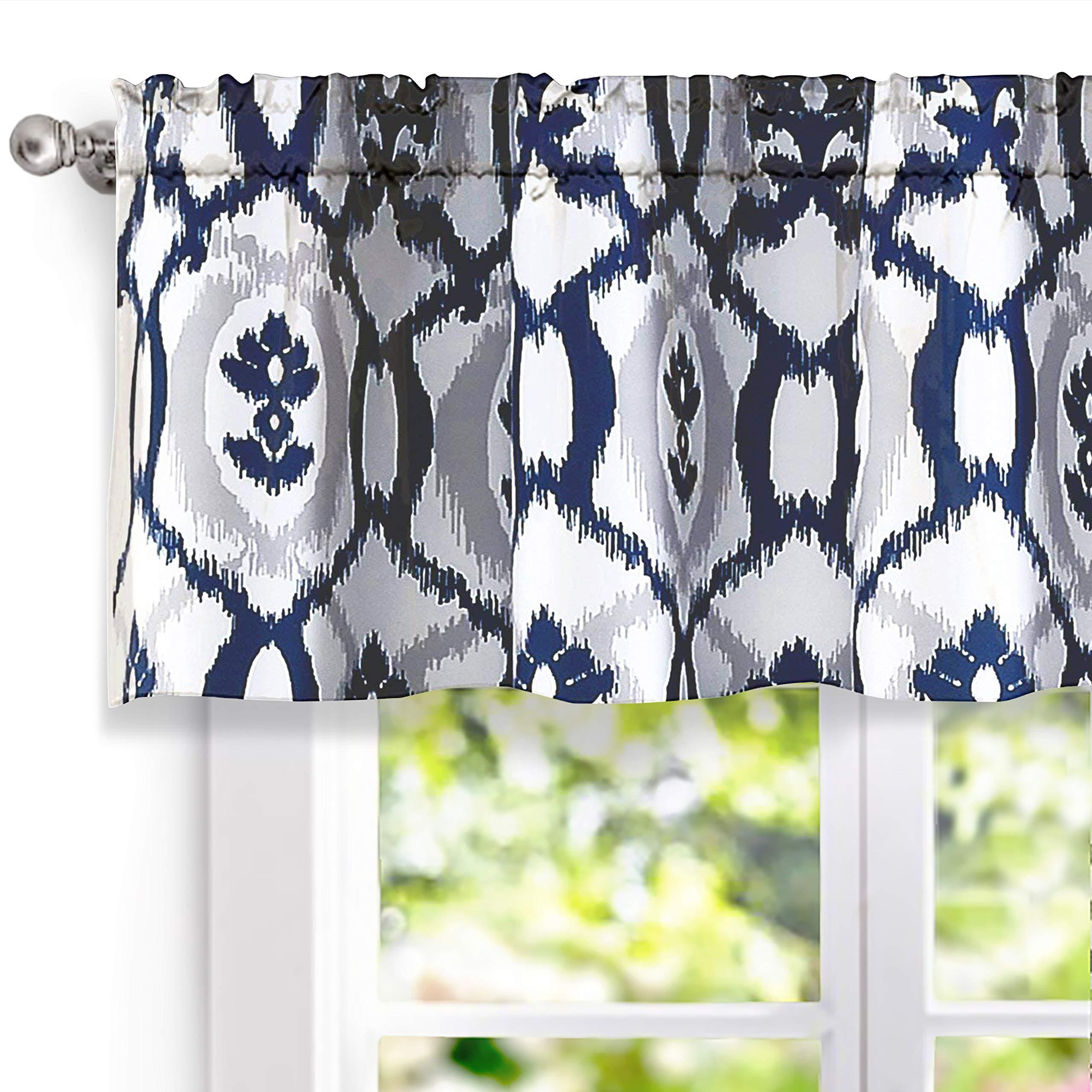 DriftAway Evelyn Ikat fleur/Floral Pattern Window Curtain Valance, 52''x18''(Navy Blue)