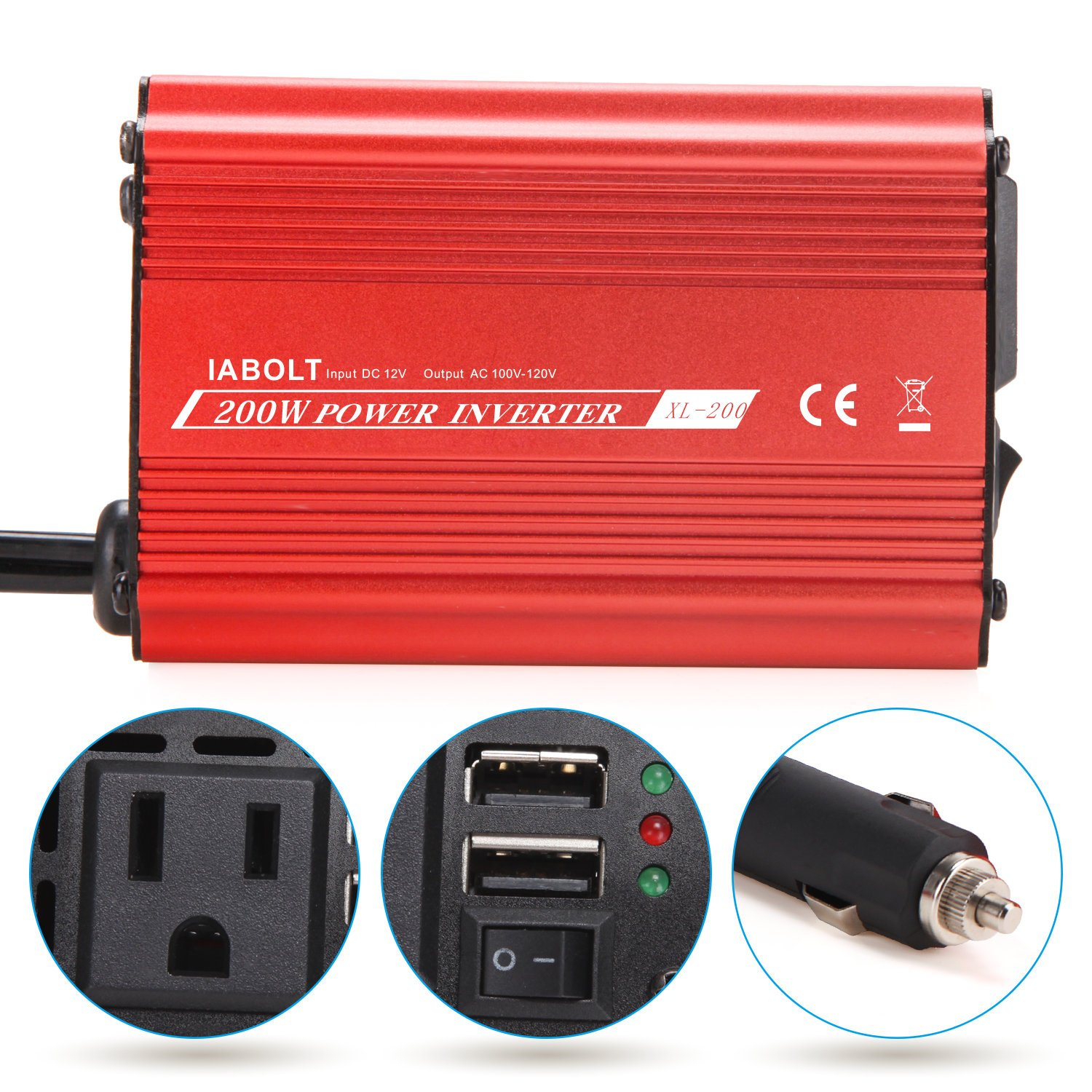 Iabolt 200w Car Power Inverter Dc 12v To Ac 110v L200 Constant Voltage Battery Charger Circuit This Converter Usb Ports Adapter Outlets Garden Outdoor