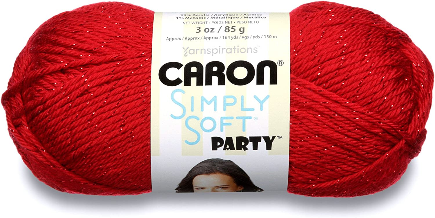 CaronSimply Soft Party Yarn - (4) Medium Worsted Gauge- 3 oz -Rich Red- For Crochet, Knitting & Crafting