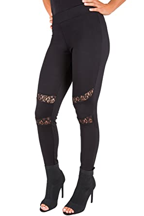 f17e8e2bdf32f Poetic Justice Curvy Women's Black Peekaboo Lace Insets Pull On Ponte  Legging Size S