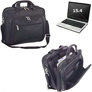 ImpecGear Men's Black Full Grain Leather Briefcase Messenger Shoulder Laptop Portfolio Bag (Black 1)