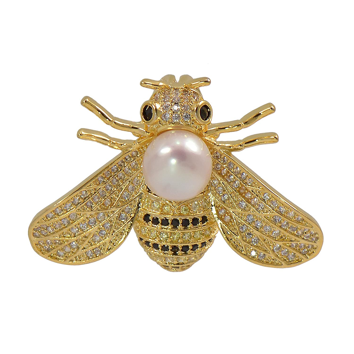 Paialco 8-9MM Cultured Freshwater Pearl Cubic Zirconia Delicate Bee Brooch Pin, Yellow Gold Tone JOSEPH & CO JHW1001YLWH