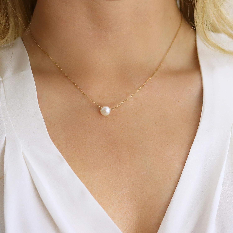 Bridesmaid jewelry gifts Genuine fresh water pearl necklace bridesmaid pearl necklace Real pearl necklace 14K gold bridal necklace