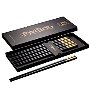 Goldage 5-Pairs Fiberglass Dishwasher-safe Chopsticks (Millennium Gold)