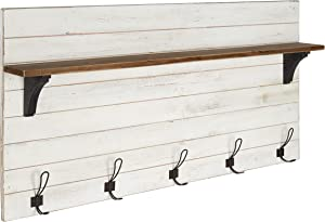 Kate and Laurel Jeran Wood Wall Shelf with 5 Hooks, White