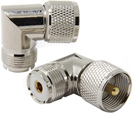 2 Pack UHF Male to Female Right Angle Elbow RF Adapter Connector PL-259 SO-239