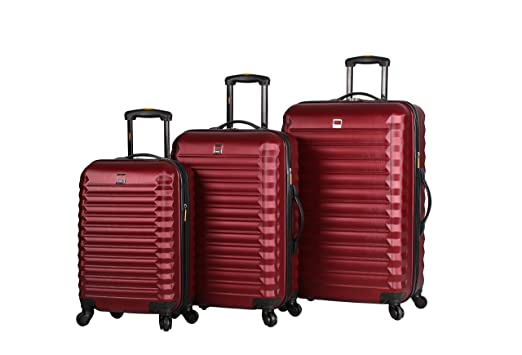 Amazon.com | Lucas ABS Hard Case 3 Piece Rolling Suitcase Sets ...
