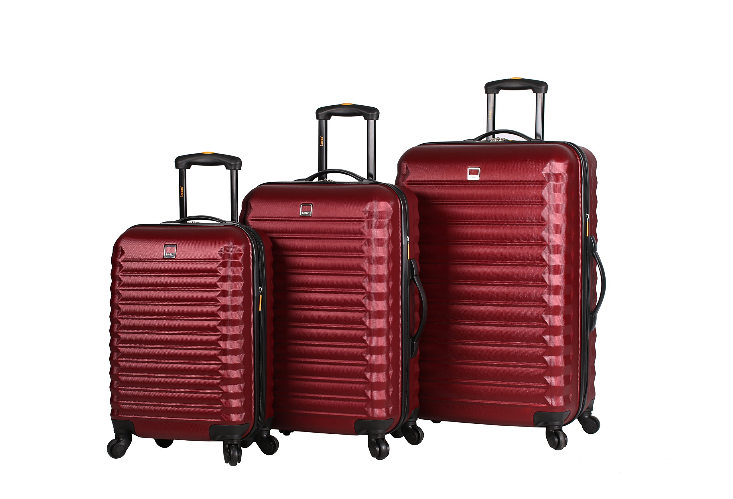 Lucas ABS Hard Case 3 Piece Rolling Suitcase Sets With Spinner Wheels (One Size, Burgundy)