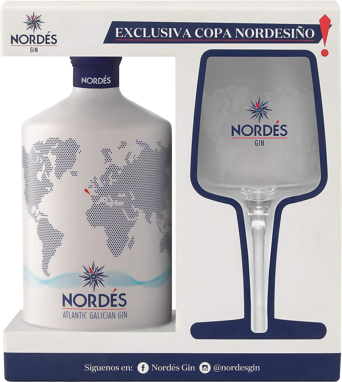 Ginebra Premium nacional Nordés - Estuche 1 botella de ginebra Nordés + con copa Nordesiño de regalo