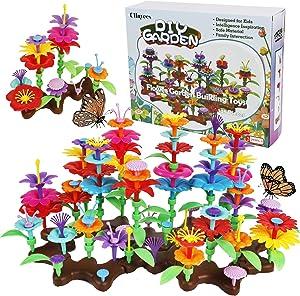 Cllayees 148 Pcs Flower Garden Building Toy Set for Kids, Building Blocks Pretend Gardening Set Preschool Educational Activity Stem Flower Garden Stacking Game Gift for Boys Girls Age 3-7 Year Olds