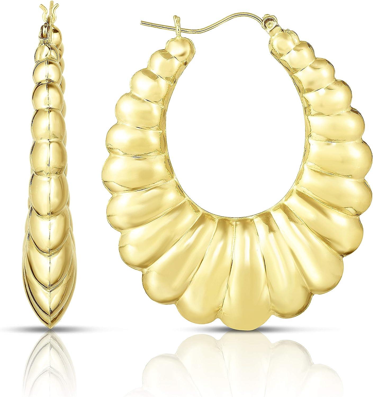 Floreo 10k Yellow Gold Shrimp Hoop Earring