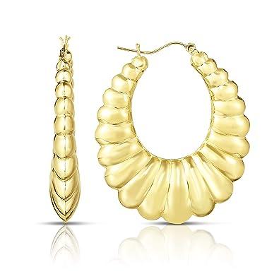 b084c1bd0302e Amazon.com: Floreo 10k Yellow Gold Shrimp Hoop Earring, Extra Small ...