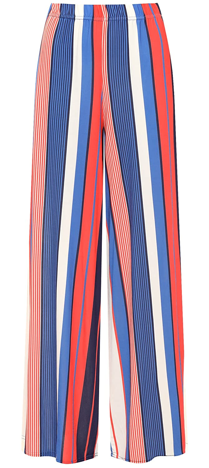 c14dd2f17d6 WearAll Women s Plus Striped Print Wide Flared Leg Palazzo Trousers Pants  Baggy at Amazon Women s Clothing store