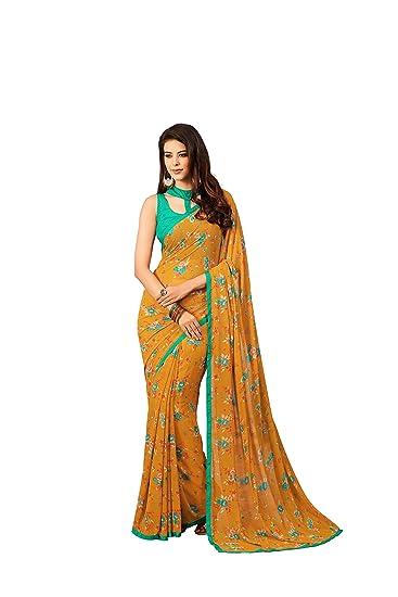 ef3cd6ca6d Takshaya Partywear Orange Floral Printed Georgette Saree: Amazon.in:  Clothing & Accessories