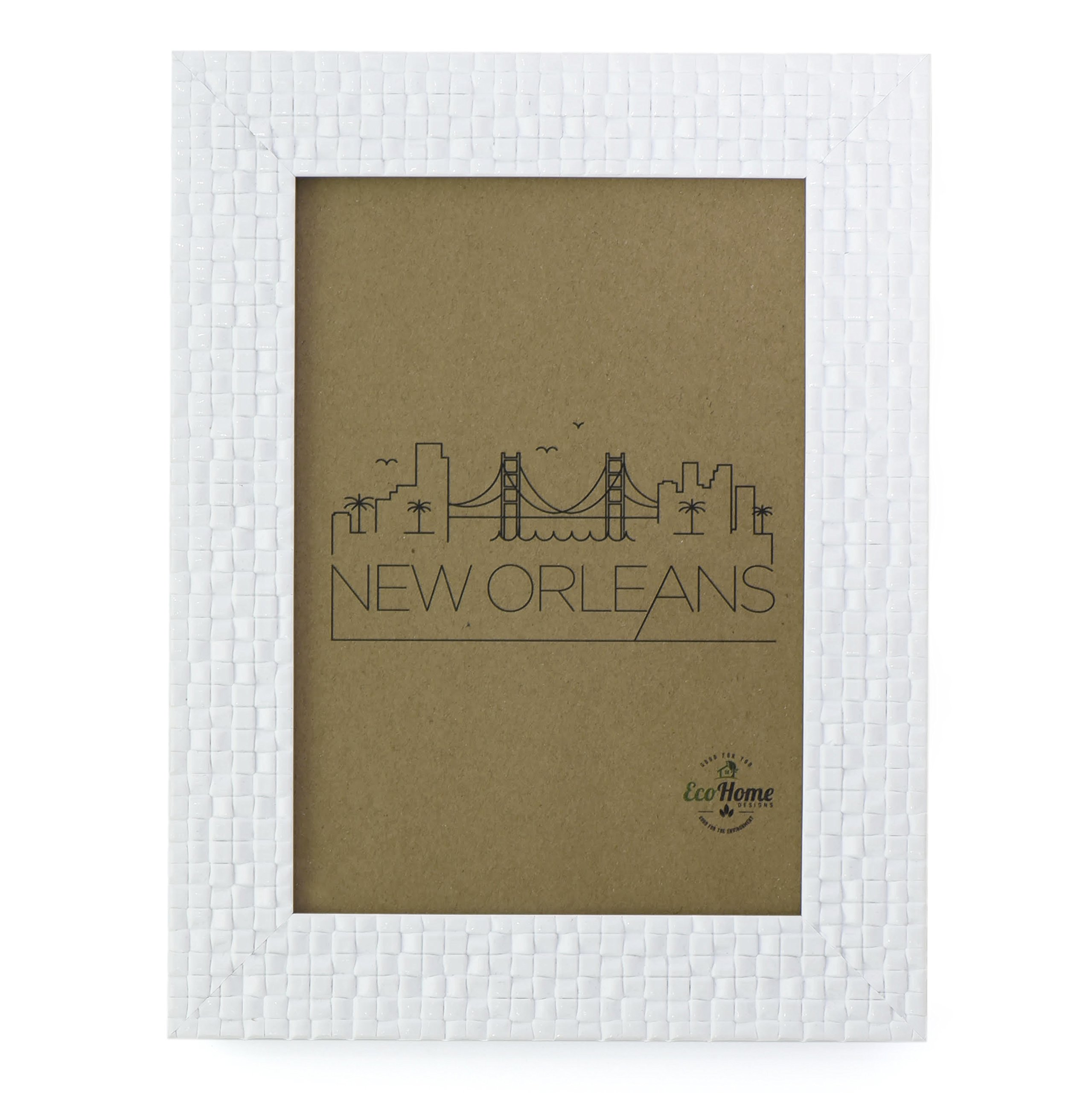 8x10 Picture Frame White Tile - Wall Mount Desktop Display, Frames by EcoHome by Eco-home