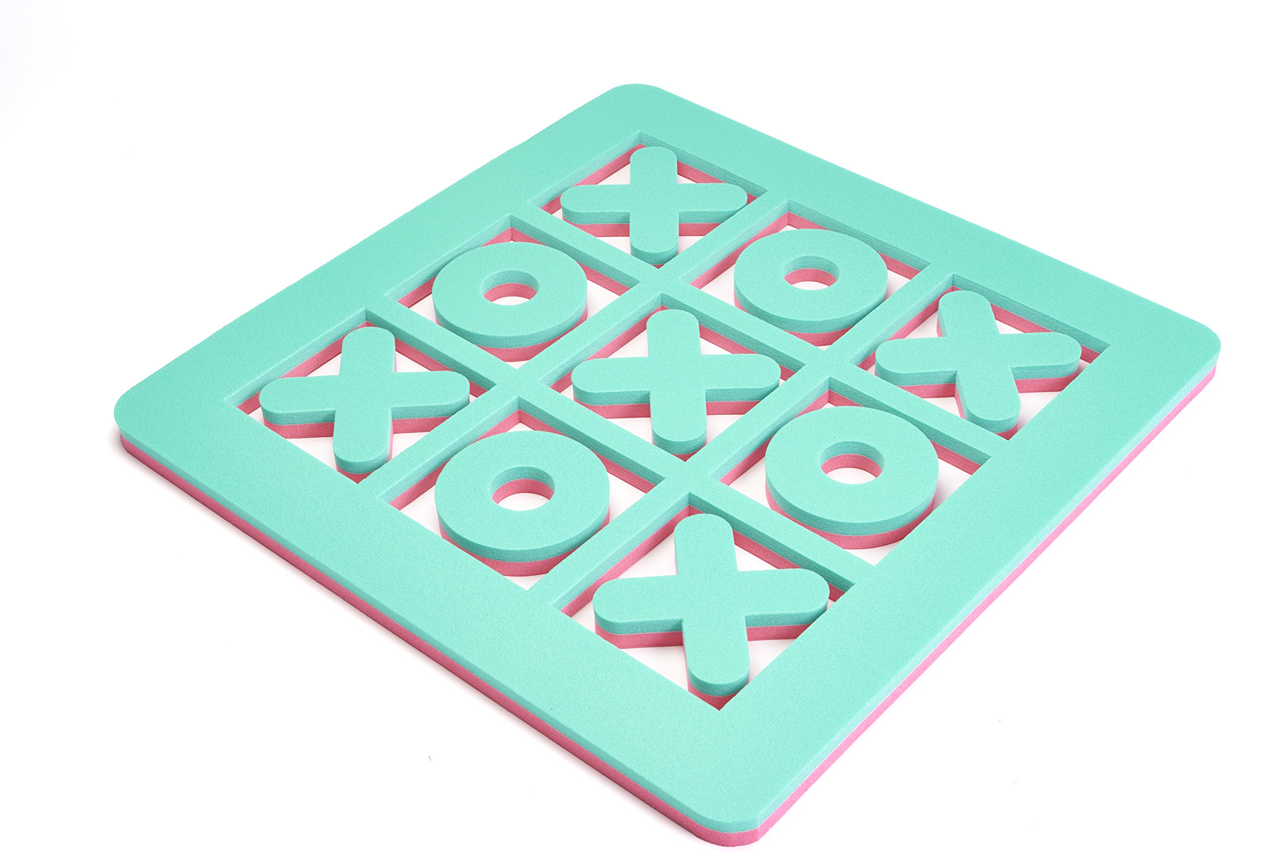 Floatation iQ H2O 3-In-A-Row - Floating Tic-Tac-Toe Pool Game - Made in the USA w/Durable (PE) Tear Resistant Foam - Mini Size (Pink/Turquoise)