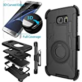 Galaxy S7 Edge Case,Case-cubic S7 Edge Holster-Dual Layer Armor Defender Protective Case Cover with kickstand Belt Swivel Clip+TPU Curved Edge to Edge HD Screen Protector for Samsung S7 Edge