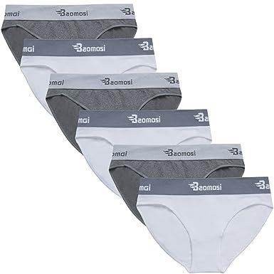 7de535c9cdf BAOMOSI 6 Pack Women s Hipster Brief Nylon Spandex Underwear Carousel  Bikini Panty White Grey M