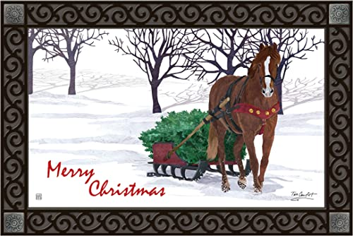 Studio M MatMates Horse Drawn Sled Winter Christmas Decorative Floor Mat Indoor or Outdoor Doormat with Eco-Friendly Recycled Rubber Backing, 18 x 30 Inches