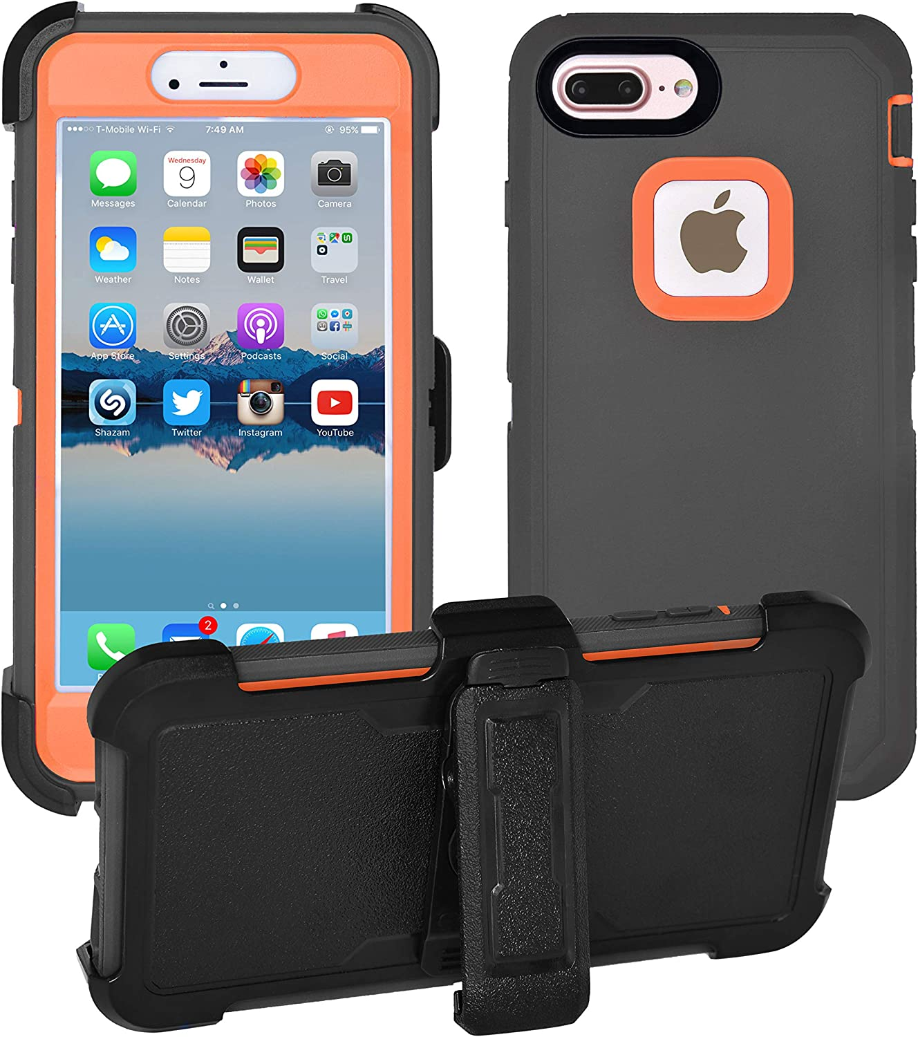 AlphaCell Cover Compatible with iPhone 8 Plus / 7 Plus / 6 Plus / 6s Plus | 2-in-1 Screen Protector Holster Case | Full Body Military Grade Protection with Carrying Belt Clip | Shock-Proof Protective