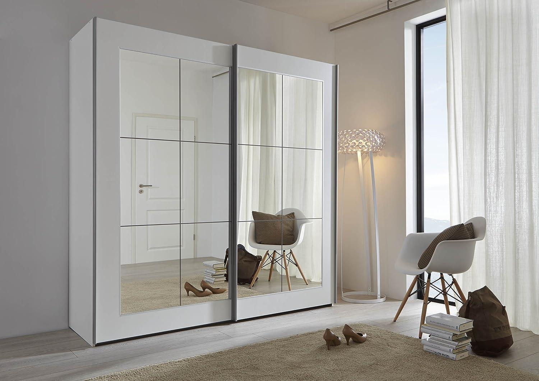 Schlafzimmer Lattice: White Sliding Door Wardrobe with Mirror ...