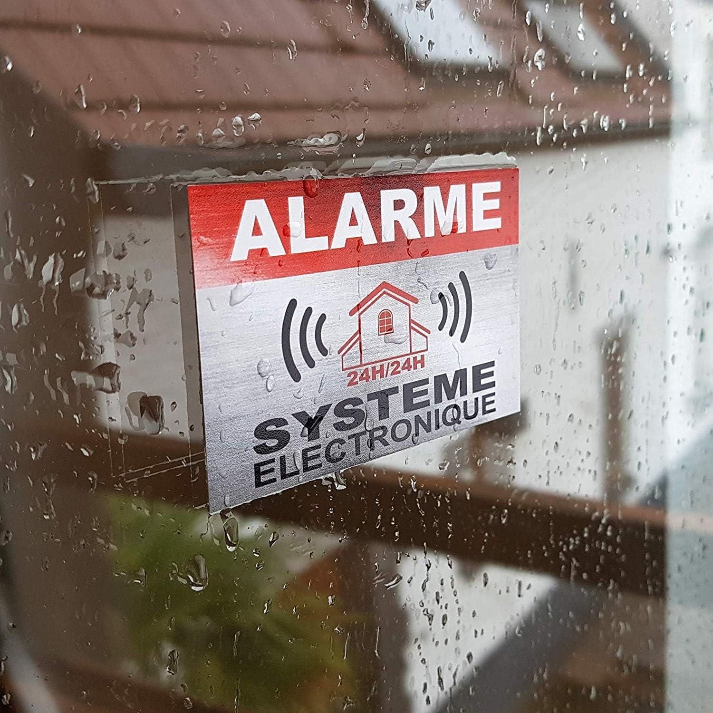 Taille Lot de 12 Apparence INOX Autocollants dissuasifs Alarme Syst/ème /électronique Sticker 8,5 x 5,5 cm