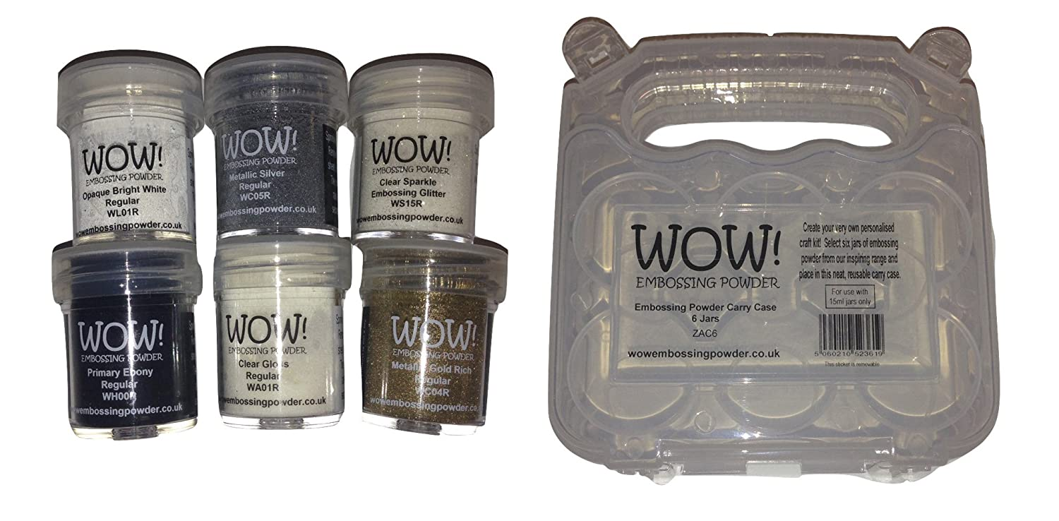 WOW! Embossing Powder 6-Pack Starter Kit and Clear Carrying Case - Bundle 7 Items WOW! USA WOWKITSTART ZAC6