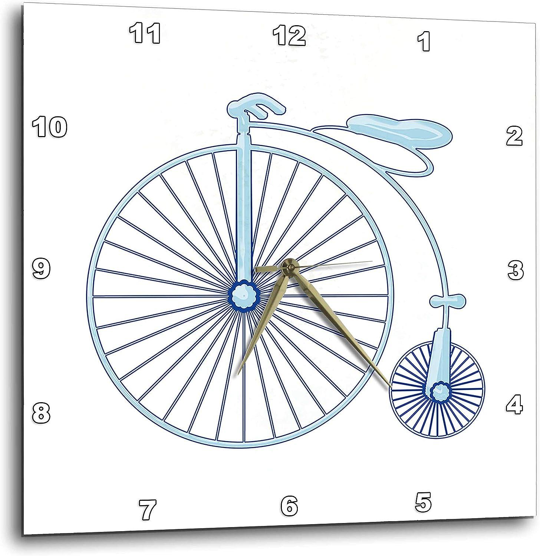 3dRose Penny Farthing Big Wheel Blue Bike Digital Art - Wall Clocks (DPP_335860_2)