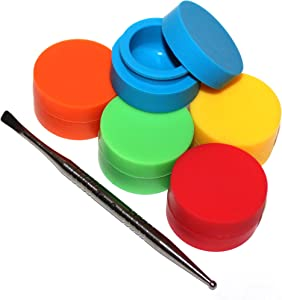 TitanOwl 5 x Non-Stick Storage Silicone Container Carving Tool, Jar Matte Outside & Shiny Round Inside Food Grade Non Stick Heat Resistant - 5 Pack (Titanium Tool+Mixed Color)