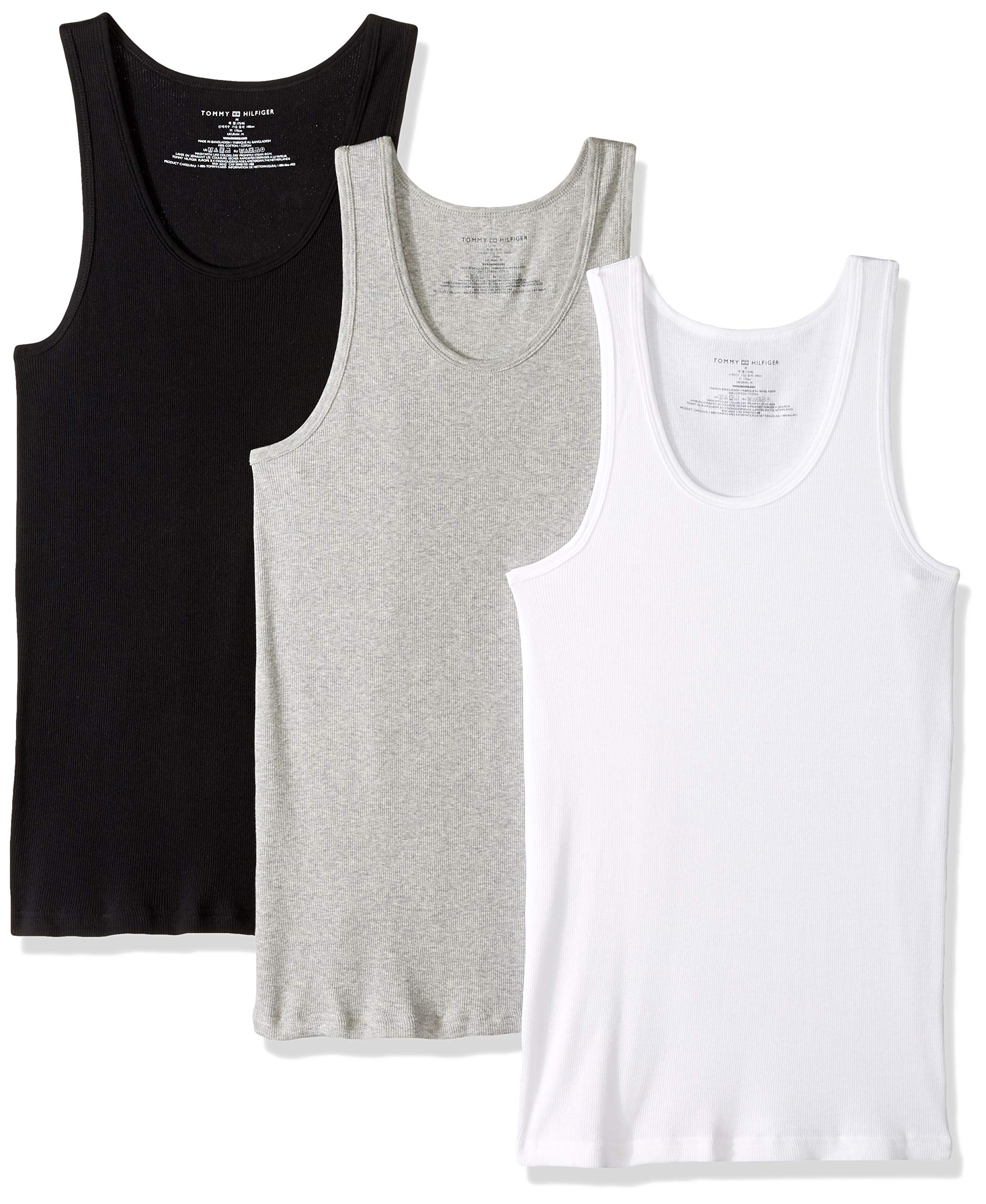 Tommy Hilfiger Men's Undershirts Multipack Cotton Classics A-Shirts, Black/Grey/White, Medium by Tommy Hilfiger