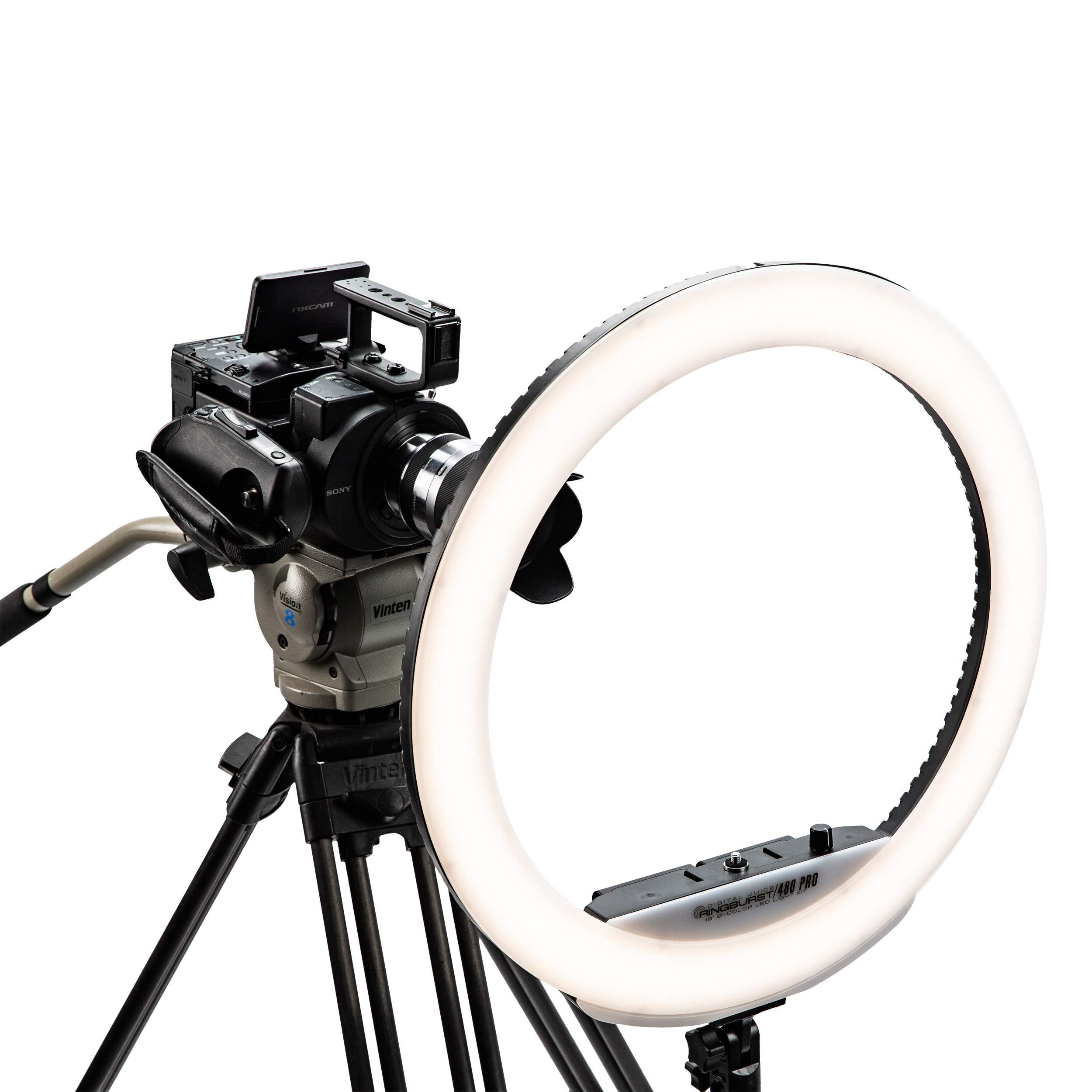 Digital Juice RingBurst 480 PRO - Affordable Bi-Color LED Ring Light: 19 Inch, 55W, 5600K Color Temperature, Dimmable Photo Studio Lighting Kit for Makeup Tutorials, YouTube, Vimeo, Vine Shooting