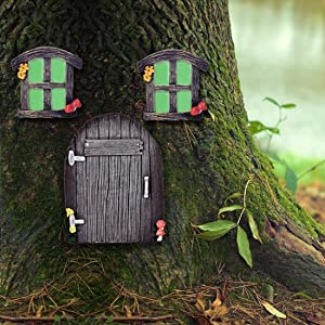 Miniature Fairy elf Home Door and Windows, Cute Tree Decor Art Decorations,Window Can Glow in The Dark
