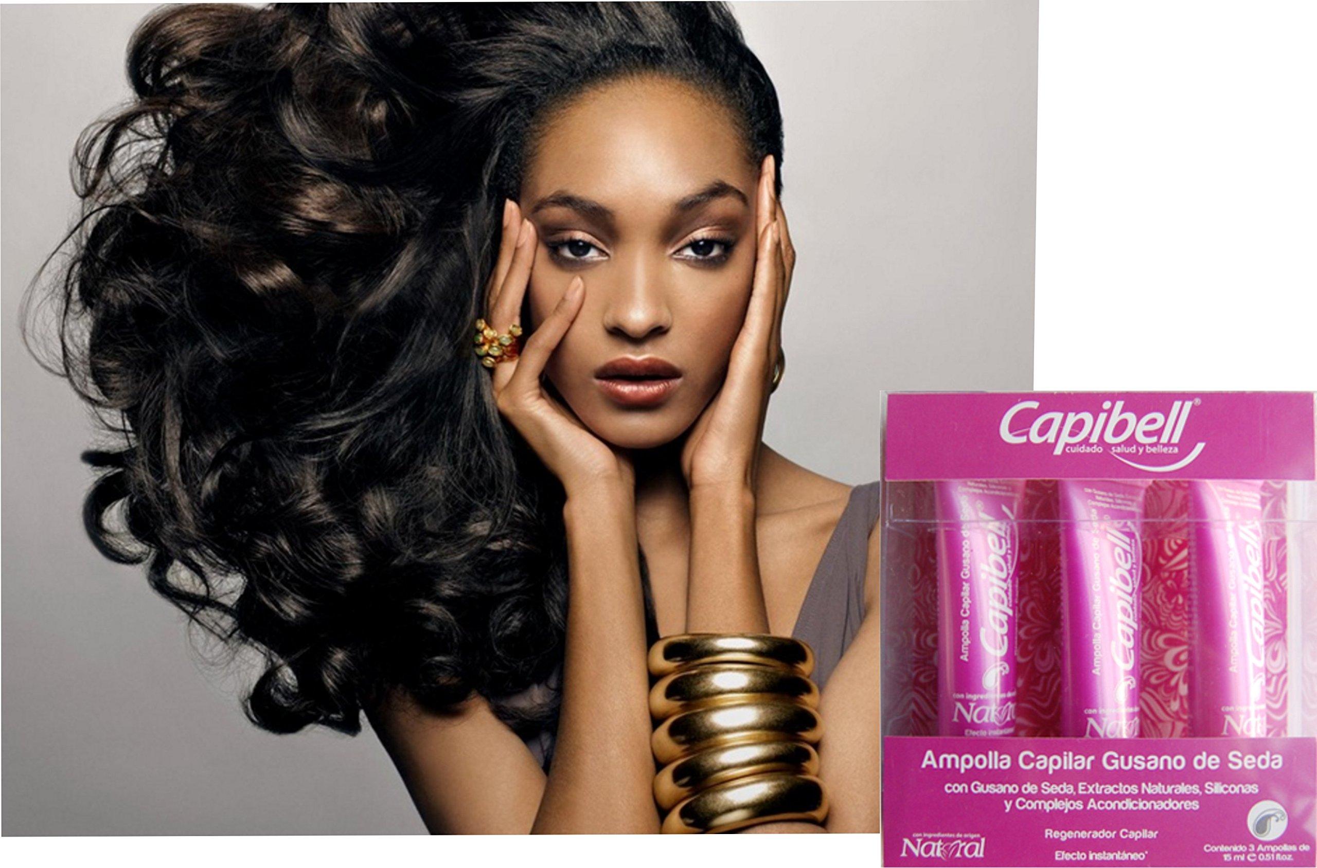 Amazon.com : CAPIBELL-Gusano de seda/Ampolla protector del tallo del cabello (BOX 3PCS) : Beauty