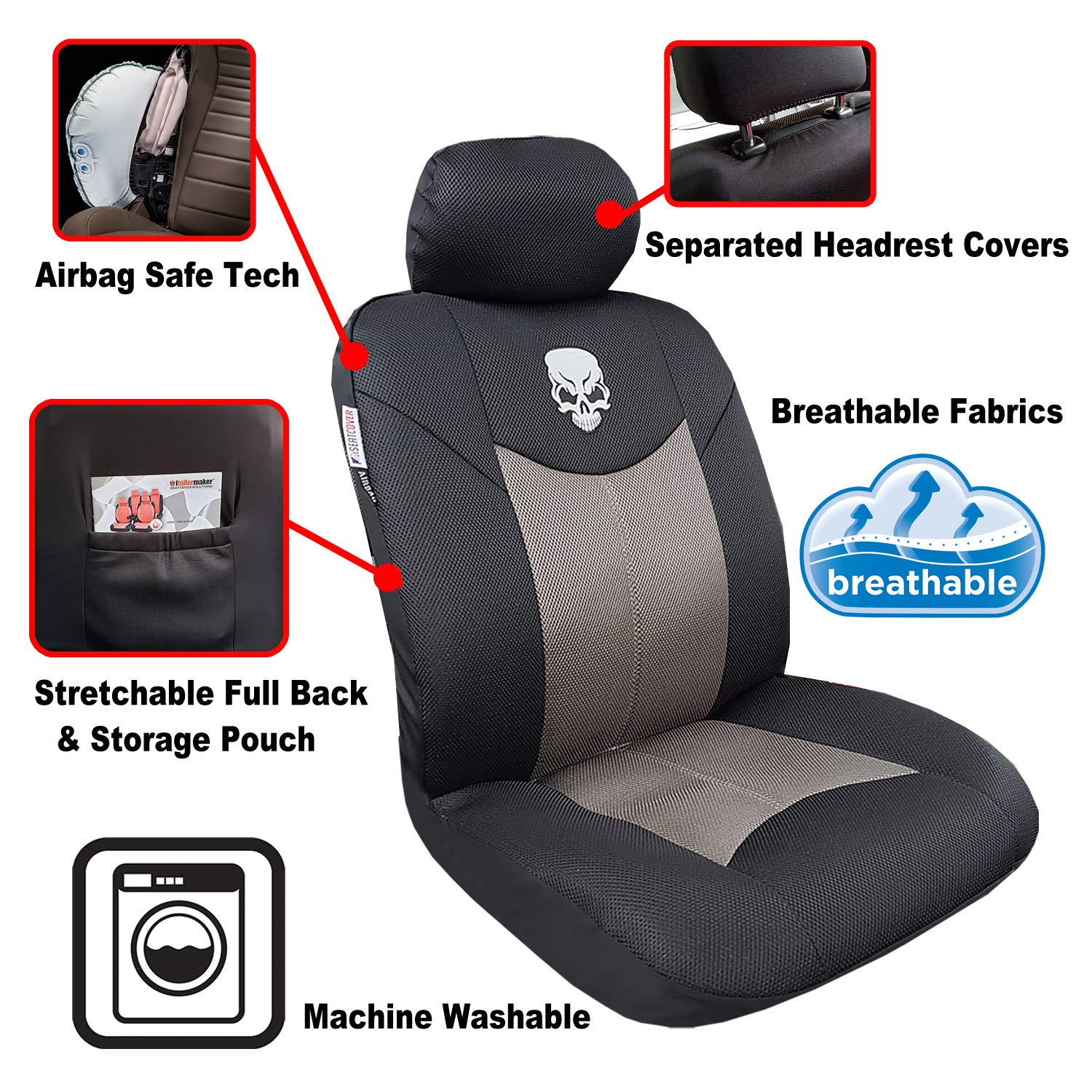 8 Color Options New Airflow Mesh Embroidery Car Seat Covers Universal Size for 4Runner Tacoma 9pcs Complete Set Warm in Winter Black02