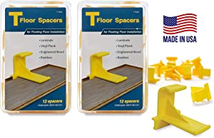 Tfloor Laminate Flooring Spacers : for Installing Laminate Wood, Vinyl Plank, Engineered Hardwood, LVT, Bamboo, Subfloor Panels, or Any Floating Floor Material. Made in The USA.