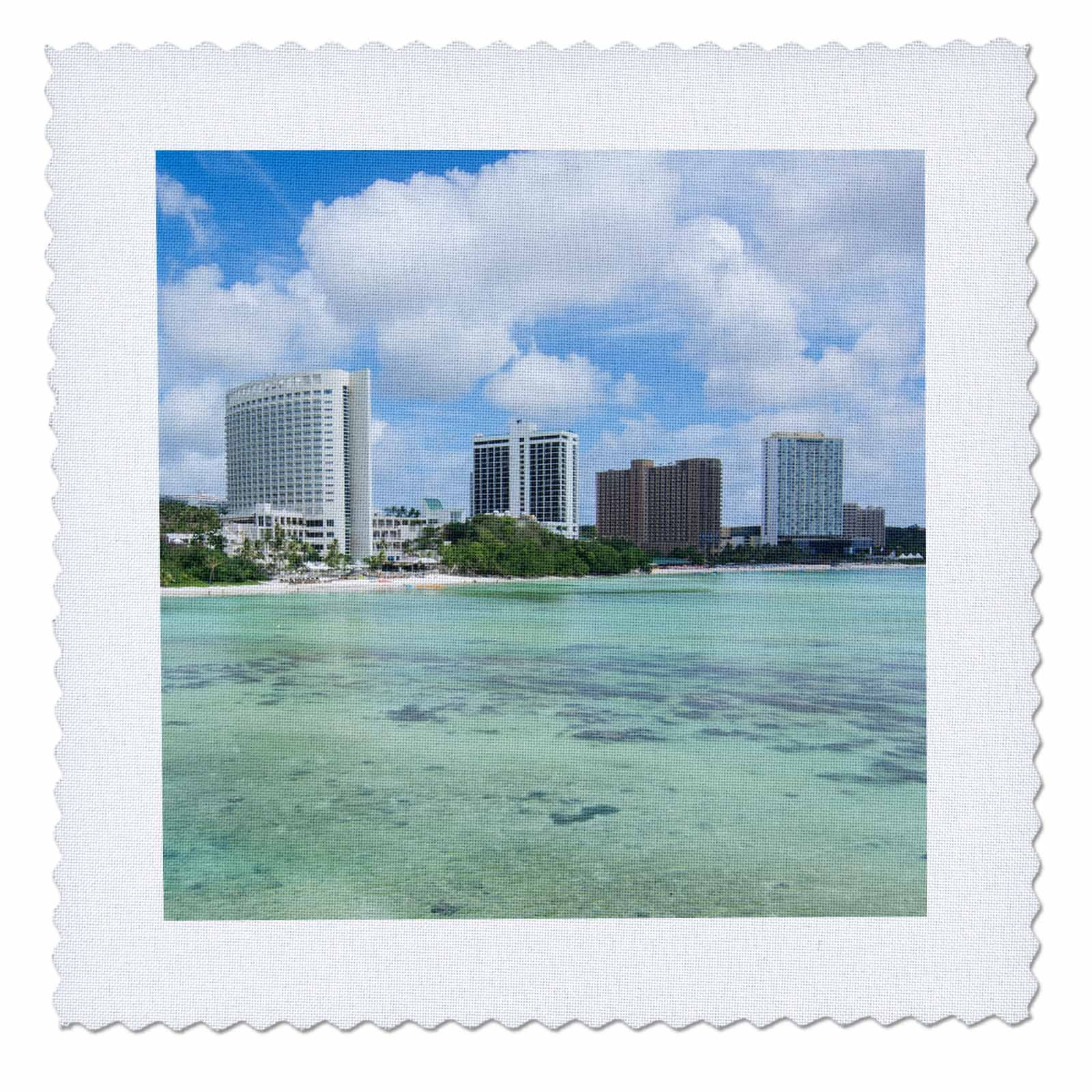 3dRose Danita Delimont - Cities - Guam Territory. Hotels line beach with clear tropical waters. - 16x16 inch quilt square (qs_278126_6)