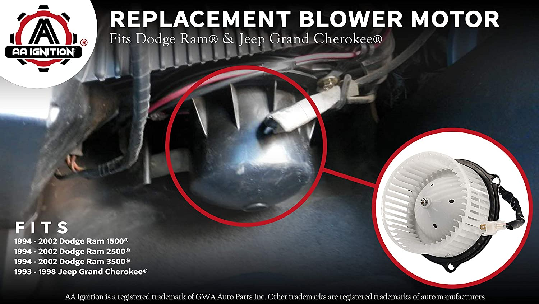 Replaces# 4778417 1994-2002 Ram 2500 Fits 1994-2002 Dodge Ram 1500 AC Blower Motor With Fan Renewed 5015866AA 94-02 Ram 3500 /& 1993-1998 Jeep Grand Cherokee AC Heater Fan Assembly