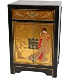 Oriental Furniture Gold Leaf End Table Cabinet