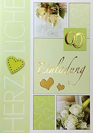 Einladungskarten Hochzeit Mit Innentext Motiv Ringe 10 Klappkarten