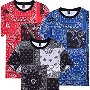 Men Hip Hop Casual Cashew Nut Print Jogger Short Sleeve T-Shirt