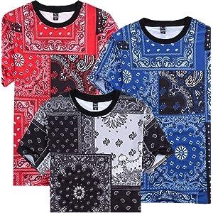 Men Hip Hop Casual Cashew Nut Print Jogger Short Sleeve T-Shirt